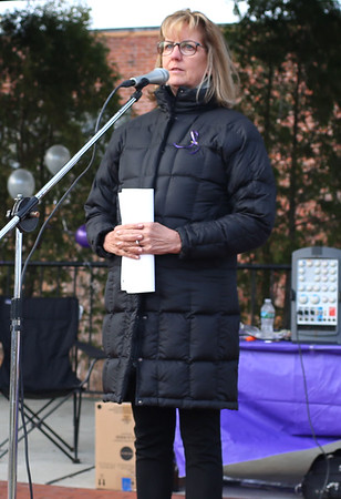 HADLEY GREEN/ Staff photo<br /> State Senator Joan B. Lovely spoke at the second annual Lost Lives Matter vigil for people who have died from opioid overdoses held at the Leather City Common in Peabody on Saturday, April 8th, 2017. Lovely talked about how she plans to fight the opioid epidemic in government, and expressed her deep concern for the issue.