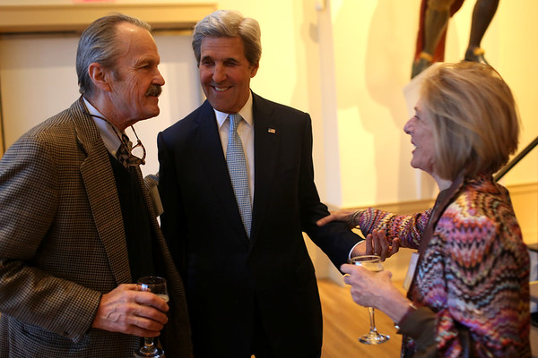 HADLEY GREEN/ Staff photo<br /> Former secretary of state John Kerry talks to Susan Winthrop and her husband Frederic Winthrop, Kerry's first cousin, at the Essex National Heritage Area 20th anniversary gala held at the Peabody Essex Museum in Salem on Wednesday, April 5th, 2017.
