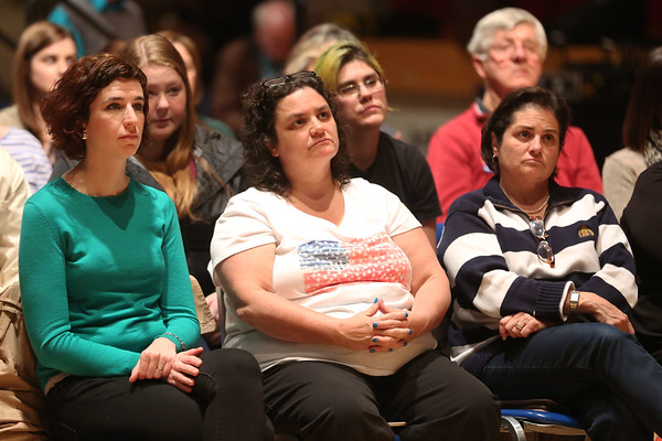HADLEY GREEN/ Staff photo<br /> Audience members listen to Senator Elizabeth Warren respond to questions during a public town hall event at Salem High School on Thursday, April 13th, 2017.