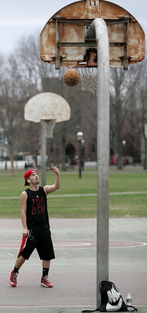Shooting hoops at the Salem Common