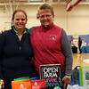 HADLEY GREEN/ Staff photo<br /> Susan Kemp, left, of Worldy Pets in Marblehead and Leah Franzen, right, of Open Farm Pet give out information at their table during the annual Marblehead Chamber Health and Wellness Fair at the Lynch Van Otterloo YMCA in Marblehead on Saturday, April 8th, 2017.
