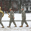 HADLEY GREEN/ Staff photo<br /> Members of the 215th Army Band walk across the Salem Common in preparation for the commemoration ceremony of the Salem First Muster on April 1st, 2017. This year  marks the 380th anniversary of the First Muster of the National Guard.