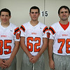 From left: Beverly Football Players Anthony Nolasco (85), Dante Abate (62), Josh Shea (76). DAVID LE/Staff photo. 8/22/14.