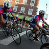 Riders in the Men's Elite race lean into a sharp curve at the corner of the Hawthorne Hotel during the Witches Cup around Salem Common on Wednesday evening. DAVID LE/Staff photo. 8/6/14.