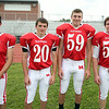 From left: Masconomet Regional High School Seniors Ryan Ramsey (3), Josh Fales (20), Patrick Whelan (59), Louis Saladino (54). DAVID LE/Staff photo. 8/22/14.