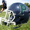Pingree Highlanders Football Helmet. DAVID LE/Staff photo. 8/21/14.