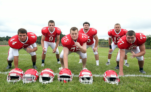 From left: Masco seniors Kyle Kowalski (DE/OLB), Gavin Monagle (OLB), Kyle Taggart (DT), Steve O'Reilly (MLB), Corey Tines (S), and Jack Butt (DE) are returning starters for the Chieftans on defense. DAVID LE/Staff photo. 8/22/14.
