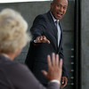 Governor Deval Patrick waves hello to former State Representative Mary Grant, upon his arrival at the ribbon cutting ceremony for the Beverly Depot Parking Garage on Friday afternoon. DAVID LE/Staff photo. 8/1/14.