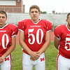 From left: Masconomet Regional High School Seniors Joe Coppola (60), Steve Jesi (50), Steve Yanelli (51). DAVID LE/Staff photo. 8/22/14.