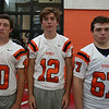 From left: Beverly Football Players Harrison Gallagher (40), Matt Carnevale (12), Chris Faust (67). DAVID LE/Staff photo. 8/22/14.