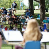 Hundreds of people gathered in the shade surrounding the Bandstand at Salem Willows to listen to the Salem High School Jazz Band during the Salem Jazz and Soul Festival on Saturday morning. DAVID LE/Staff  photo. 8/16/14.