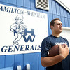 "Nolan Wilson, a senior transfer from the Landmark School, will be suiting up for the Hamilton-Wenham Generals this fall with hopes of playing D1 College football. Wilson, a 6'5"" tight end and defensive lineman is already being scouted by nearby D1 schools including UConn and Syracuse. DAVID LE/Staff photo. 8/1/14."