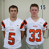 From left: Beverly Football Players Mike McKenna (5) and Bryan Flaherty (33) DAVID LE/Staff photo. 8/22/14.