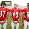 From left: Masconomet Regional High School Seniors Andrew Mastroangelo (97), Michael Pascuccio (63), Anthony Mastroangelo (64). DAVID LE/Staff photo. 8/22/14.