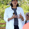 Salem Mayor Kim Driscoll talks about the future of Bakers Island and the turnover of deed from the US Coast Guard to the Essex National Heritage Commission. DAVID LE/Staff photo. 8/27/14.
