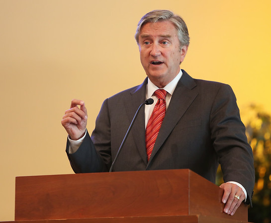 Congressman John Tierney speaks to residents at Brooksby Village on Wednesday afternoon during a Congressional Forum along with candidates Seth Moulton, Marise DeFranco, John Devine, and John Gutta. DAVID LE/Staff photo. 8/27/14.