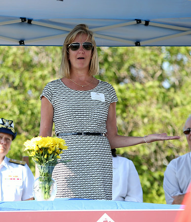 State Senator Joan Lovely makes a few remarks during the ceremony. DAVID LE/Staff photo. 8/27/14.