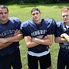 The 2014 Pingree Highlanders will be led by senior captains Kevin Moyette (LB/G), Connor Bandar (LB/G), and Sal Fazio (RB/CB). DAVID LE/Staff photo. 8/21/14.