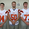 From left: Beverly Football Players Spencer Akerman (84), Chris Vallette (50), James Mahoney (73) DAVID LE/Staff photo. 8/22/14.
