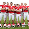 From left: Masco seniors Roby Deschenes (QB), Kyle Taggart (OL), Gavin Monagle (WR), Steve O'Reilly (OL), Louis Saladino (OL), Jack Butt (OL), and Corey Tines (WR) will return to the Chieftans offensive attack in 2014. DAVID LE/Staff photo. 8/22/14.