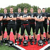 The Marblehead Magicians offensive eleven include senior captain and quarterback Spencer Craig (3), junior wide receiver Mark Cohen (40), senior wide receiver Casen Sullivan (4), senior captain and wide receiver Robert Hill (7), senior right tackle Derek Dumais (79), senior right guard Christian Rudloff (51), senior center Tommy Gabel (75), senior captain and running back Brooks Tyrrell (44), senior wide receiver Will Millett (9), junior left guard Bryan Graf (50), and senior captain and left tackle Dan Marino (56). DAVID LE/Staff photo. 8/22/14.