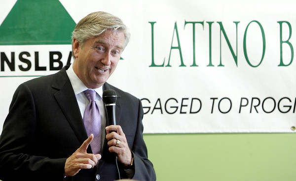 KEN YUSZKUS/Staff photo. Congressman John Tierney speaks to the North Shore Latino Business Association in Lynn. He was there with U.S. Labor Secretary Tom Perez.  8/6/14