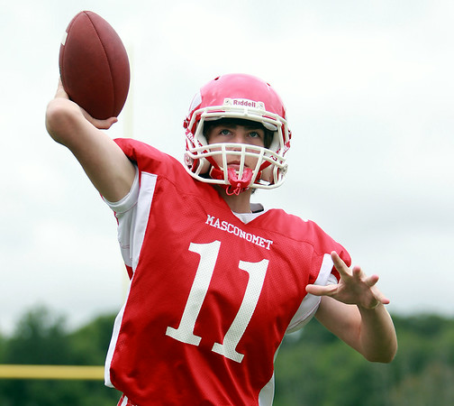 Masco sophomore Declan Judge will be battling with senior Roby Deschenes for the starting quarterback job for the Chieftans in 2014. DAVID LE/Staff photo. 8/22/14.