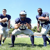 Swampscott High School Senior Captains Mike Faia, Mark Rittiboon, and Jordan James. DAVID LE/Staff photo. 8/20/14
