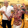 KEN YUSZKUS/Staff photo. Elaine Little and Joe Markowski dance to the music of the big band sound of R&R 2000 band at the Beverly Senior Center as part of Beverly Homecoming.  8/5/14