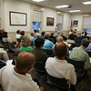 Wenham residents filled the sets inside Wenham Town Hall on Wednesday evening for an appeals hearing regarding Penguin Hall, the former Mullen advertising property that is to be turned into a drug rehab and mental clinic. DAVID LE/Staff photo. 8/6/14.