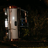 Flipped over truck on Appleton Street in the Greenlawn Cemetery. DAVID LE/Staff photo. 8/7/14.