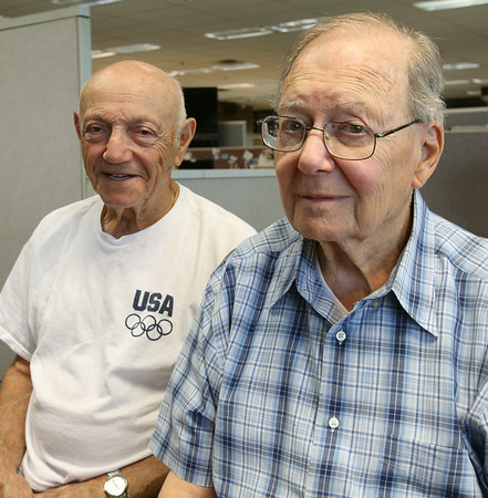KEN YUSZKUS/Staff photo.  Korean War veterans Elliot Ganz, left, and Sherwin Finn are friends.  8/4/14