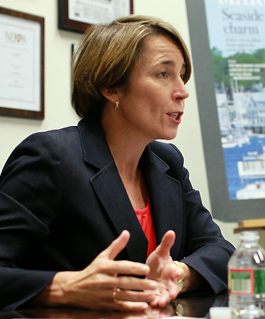 Maura Healey, Democratic candidate for Massachusetts Attorney General, speaks in the Publisher's Conference Room at the Salem News during an editorial board meeting on Friday morning. DAVID LE/Staff photo. 8/15/14.