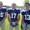 Swampscott High School Seniors Chris Myette (55) Ryan Cresta (17), and Joey Faia (13). DAVID LE/Staff photo. 8/20/14