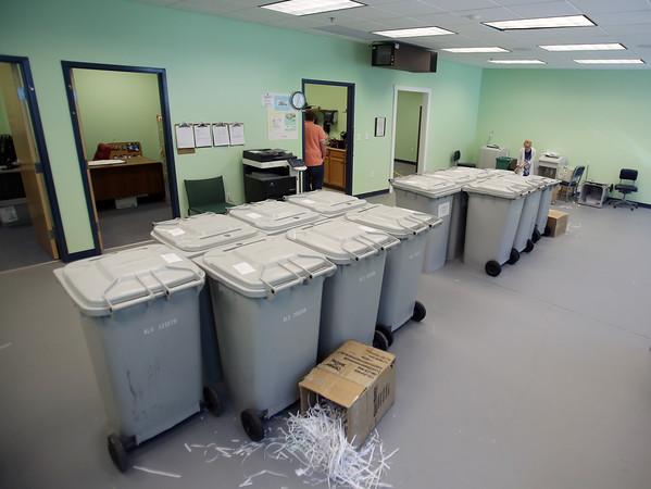 DAVID LE/Staff photo. Paper shredding room at Northeast Arc in Danvers. 8/27/15.