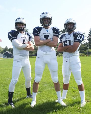 DAVID LE/Staff photo. Swampscott senior captains Leo Wile (QB/DB), Dante Ceccarelli (WR/DE), and Themo Liakopoulos (C/LB) will lead the Big Blue in 2015. 8/26/15.