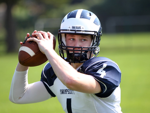 DAVID LE/Staff photo. Swampscott senior captain and quarterback Leo Wile will be under center for the Big Blue in 2015.. 8/26/15.