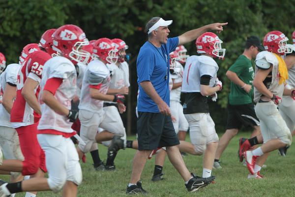 New Coach Gavin Monagle during practice Thursday, Aug. 27, at Masconomet High School.
