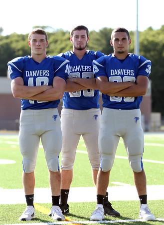 DAVID LE/Staff photo. Danvers senior captains Matt Andreas, Kieran Moriarty, and Quin Holland will lead the Falcons in 2016. 8/30/16.