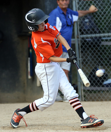 DAVID LE/Staff photo. Beverly leadoff hitter Griffin Francis makes contact against Lynn in the Gallant Final. 8/17/16.