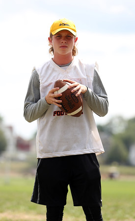 DAVID LE/Staff photo. Beverly senior quarterback Kevin Morency will look to spread the ball around this year under first year head coach Andrew Morency's new offense. 8/26/16.