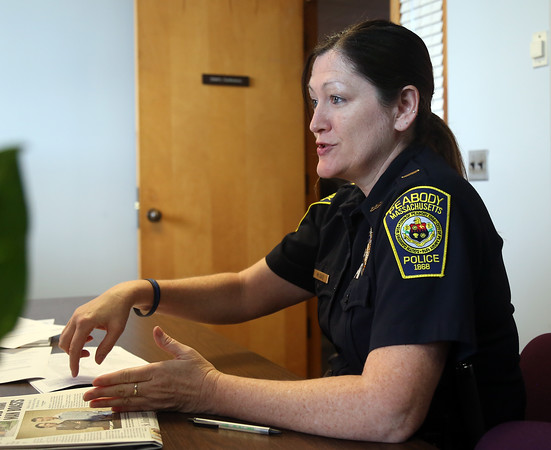 DAVID LE/Staff photo. Peabody Police Lieutenant Sheila McDaid, talks about the new Peer Support Unit that helps fellow officers who might have gone through a traumatic experience while on the job. 8/2/16.