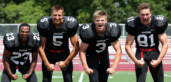 DAVID LE/Staff photo. Marblehead senior captains Jaason Lopez, Bo Millett, Harry Craig, and Manning Sears will be looking to make a deep playoff run once again in 2016. 8/26/16.