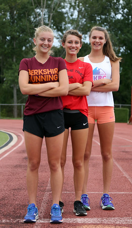 DAVID LE/Staff photo. Beverly High School senior cross country captains Lexi Sutyak, Nora Monahan, and Abby Walsh will lead the Panthers this fall. 8/31/16.