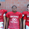 DAVID LE/Staff photo. Masco football junior Damon DiBurro, Josiah Evans, and Danny Monagle. 8/29/16.