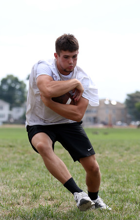 DAVID LE/Staff photo. Beverly senior captain and running back Kyle Chouinard will be part of a balanced Panthers attack in 2016. 8/26/16.