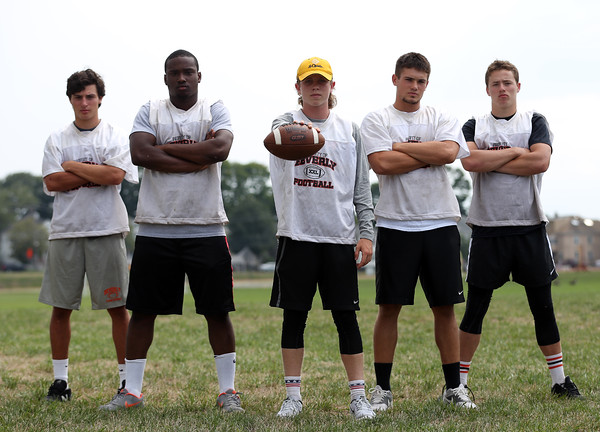 DAVID LE/Staff photo. The 2016 Beverly offensive attack will be led by senior wide receiver Sam Abate, wide receiver Hugh Calice, quarterback Kevin Morency, running back Kyle Chouinard, and wide receiver Kevin Flaherty. 8/26/16.