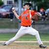 DAVID LE/Staff photo. Beverly starting pitcher Joe Brown fires a pitch against Lynn. 8/17/16.
