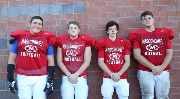 DAVID LE/Staff photo. Masco football juniors Nicholas Kartspunis, Daniel Cole, Peter Kitsakos, and Aidan Greenslade. 8/29/16.