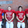 DAVID LE/Staff photo. Masco football juniors Nicholas Kartspunis, Daniel Cole, Peter Kitsakos, and Aidan Greenslade. 8/29/16.